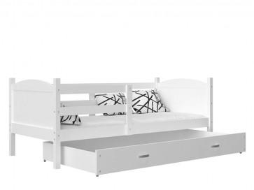 Fehér / fehér gyerekágy ágyneműtartóval  – Mateusz P. MDF