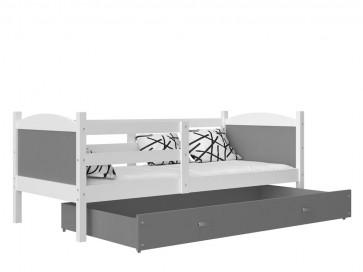 Fehér / szürke gyerekágy ágyneműtartóval  – Mateusz P. MDF