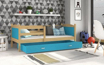 Fenyő / kék gyerekágy ágyneműtartóval – Mateusz P.