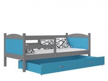 Szürke / kék gyerekágy ágyneműtartóval – Mateusz P. MDF