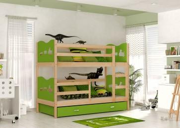 Fenyő / zöld emeletes gyerekágy - Max