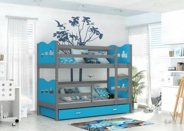 Kék / szürke emeletes gyerekágy - Max MDF