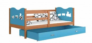 Éger / kék gyerekágy gyerekszobába ágyneműtartóval - Max P.