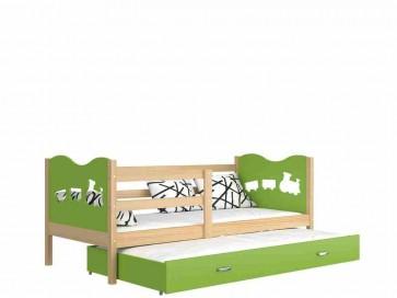 Fenyő / zöld gyerekágy gyerekszobába pótággyal - Max P2.