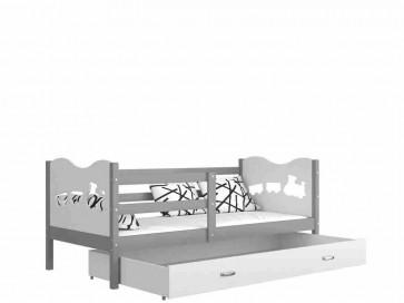 Szürke / fehér gyerekágy gyerekszobába ágyneműtartóval - Max P. MDF