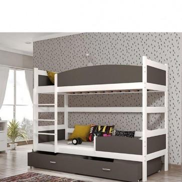 Fehér / szürke emeletes ágy, ágyneműtartóval