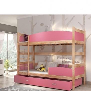 Fenyő / rózsaszín emeletes ágy, ágyneműtartóval - Twist