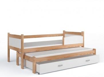 Fenyő gyerekágy és pótágy, ágyneműtartóval (80x184, 5 színben) - ajándék matraccal - Twist