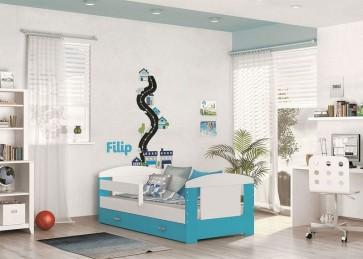 Gyerekágy ágyneműtartóval (80x140) - kék - Filip COLOR