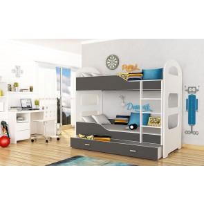 Fehér emeletes gyerekágy, ágyneműtartóval, 5 dekorszínnel (80x160) – ajándék matraccal – Dominik