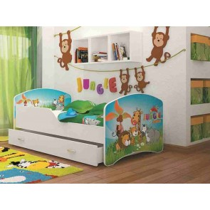 Fehér gyerekágy ágyneműtartóval, Dzsungel – Igor