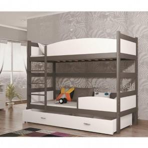 Szürke / fehér emeletes ágy, ágyneműtartóval