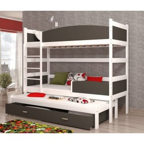 Fehér / szürke háromszemélyes emeletes ágy, ágyneműtartóval