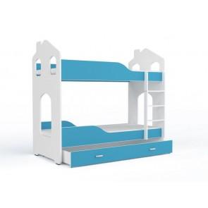 Fehér-kék emeletes gyerekágy, ágyneműtartóval - Domi