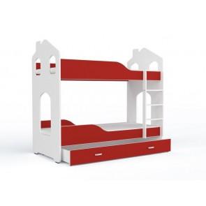 Fehér-piros emeletes gyerekágy, ágyneműtartóval, ajándék matraccal – Domi