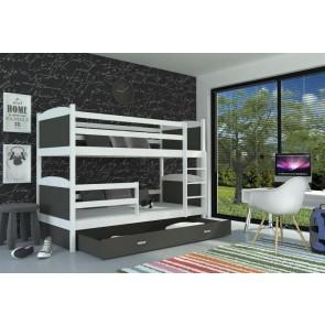 Fehér emeletes gyerekágy, ágyneműtartóval, 6 dekorszínnel – AJÁNÉK MATRACCAL – Mateusz MDF / 1