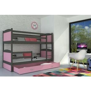 Grafit emeletes gyerekágy, ágyneműtartóval, 6 dekorszínnel – AJÁNÉK MATRACCAL – Mateusz MDF / 1
