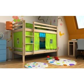 Harry emeletes ágy ajándék matracokkal és függönnyel , natúr fenyő színben