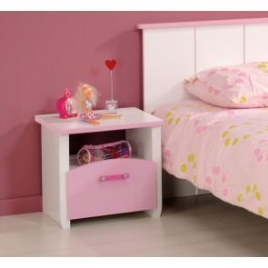 Gyerek éjjeliszekrény (fehér-rózsaszín) - Parisot Biotiful
