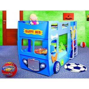 Emeletes autóságy kék, 2 ajándék matraccal! - Happy Bus