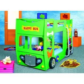 Emeletes autóságy zöld, 2 ajándék matraccal! - Happy Bus