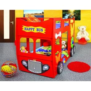 Emeletes autóságy piros, 2 ajándék matraccal! - Happy Bus