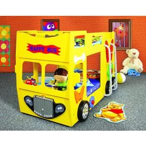 Emeletes autóságy sárga, 2 ajándék matraccal! -Happy Bus