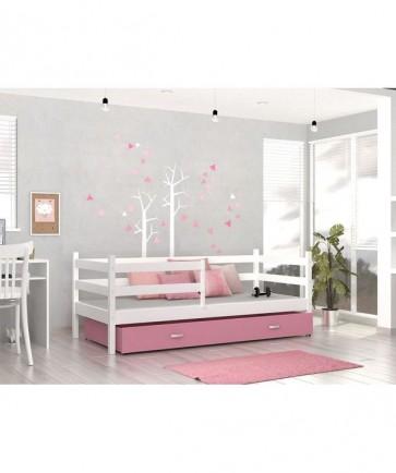 Gyerekágy fehér/rózsaszín ágyneműtartóval és ajándék matraccal