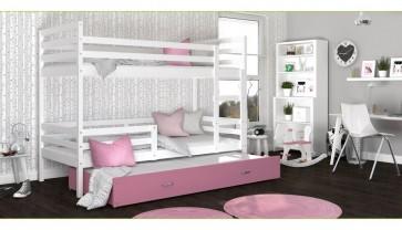 Háromszemélyes emeletes ágy fehér / rózsaszín