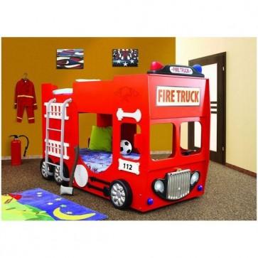Tűzoltós autóságy emeletes, 2 ajándék matraccal