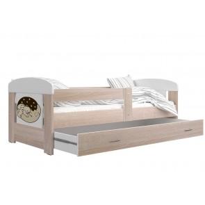 Sonoma tölgy gyerekágy ágyneműtartóval, alvó maci