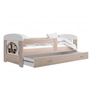Sonoma tölgy gyerekágy ágyneműtartóval, zsiráf mintával