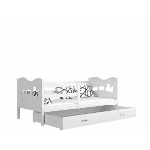 Fehér gyerekágy gyerekszobába ágyneműtartóval (5 dekorszínnel, 80x160) - Max P