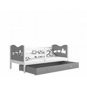Fehér gyerekágy gyerekszobába ágyneműtartóval (5 dekorszínnel, 80x190) - Max P. MDF