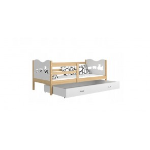 Fenyő /  fehér gyerekágy gyerekszobába ágyneműtartóval  - Max P.