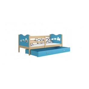 Fenyő /  kék gyerekágy gyerekszobába ágyneműtartóval  - Max P.