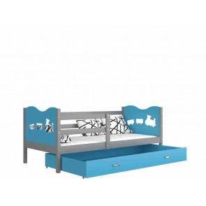 Szürke / kék gyerekágy gyerekszobába ágyneműtartóval - Max P. MDF
