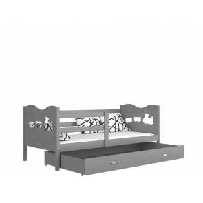 Szürke / szürke gyerekágy gyerekszobába ágyneműtartóval - Max P. MDF