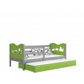 Szürke / zöld gyerekágy gyerekszobába pótággyal - Max P2.