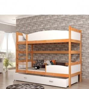 Éger / fehér emeletes ágy, ágyneműtartóval
