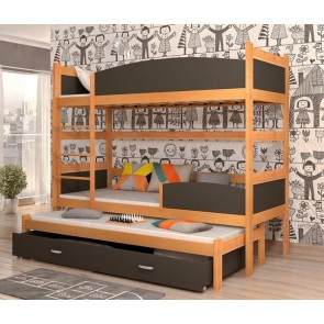 Éger / szürke háromszemélyes emeletes ágy, ágyneműtartóval