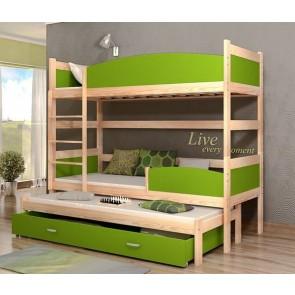 Fenyő / zöld háromszemélyes emeletes ágy, ágyneműtartóval
