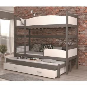 Szürke / fehér háromszemélyes emeletes ágy, ágyneműtartóval