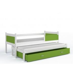 Fehér gyerekágy és pótágy, ágyneműtartóval (80x184, 5 színben) - ajándék matraccal – Twist P2 MDF