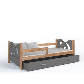 Fenyő gyerekágy és ágyneműtartó (80x160, 6 színben) – ajándék matraccal – Miklós