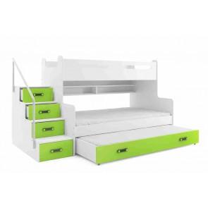 Zöld háromszemélyes emeletes gyerekágy - Midi 3