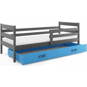 Gyerekágy leesésgátlóval és ágyneműtartóval grafit és kék