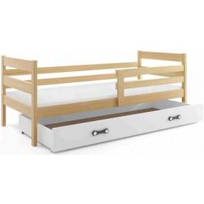 Gyerekágy leesésgátlóval és ágyneműtartóval fenyő és fehér