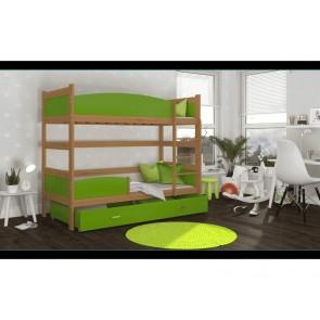 Háromszemélyes emeletes ágy éger-zöld TWIST 3