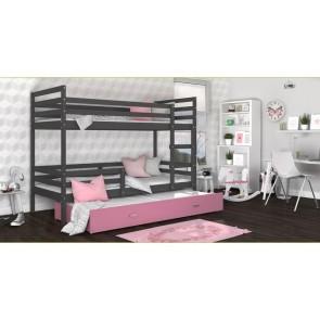 Háromszemélyes emeletes ágy szürke / rózsaszín